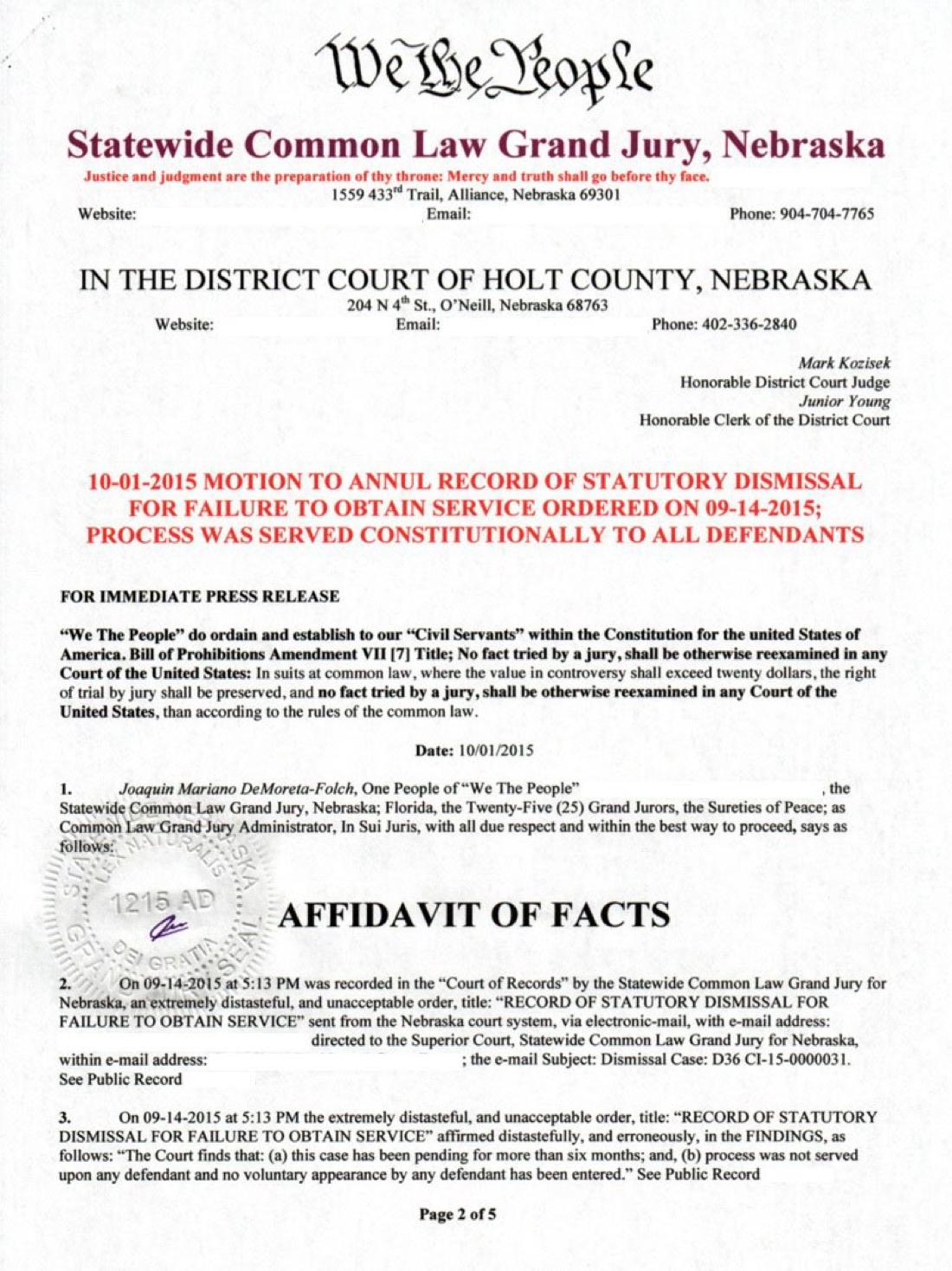 Statewide Common Law Grand Jury, Florida/Nebraska U  S  A